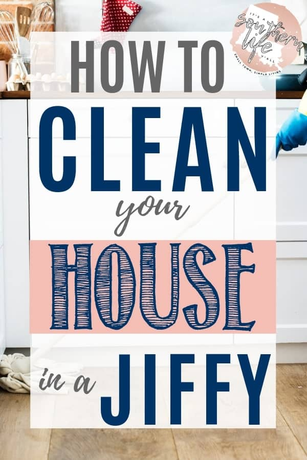 Clean your house fast following these easy steps. Free printable with instructions to help get your house clean in a jiffy.