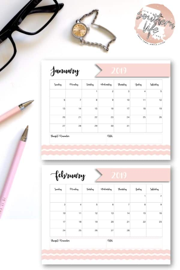 This free 2019 printable calendar can help you prioritize your year. With this printable calendar you can organize your schedule, set goals, remember birthdays and holidays, plan for the future, and so much more! #freeprintable #freeprintables #monthlycalendar #2019calendar #printablecalendar