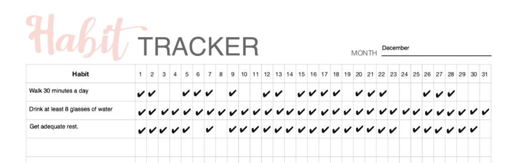 My habit tracker to lead a healthier lifestyle for free printable habit tracker.