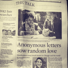 My favorite article, to date, written about my work with More Love Letters. This Chicago Tribune reporter brought it all together.