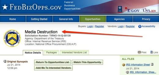 IRS Destruction of Hard Drive Bids