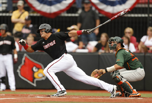 miami hurricanes louisville cardinals regional baseball ncaa