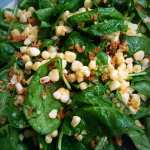 Spinach Salad with Spicy Corn and Crispy Quinoa
