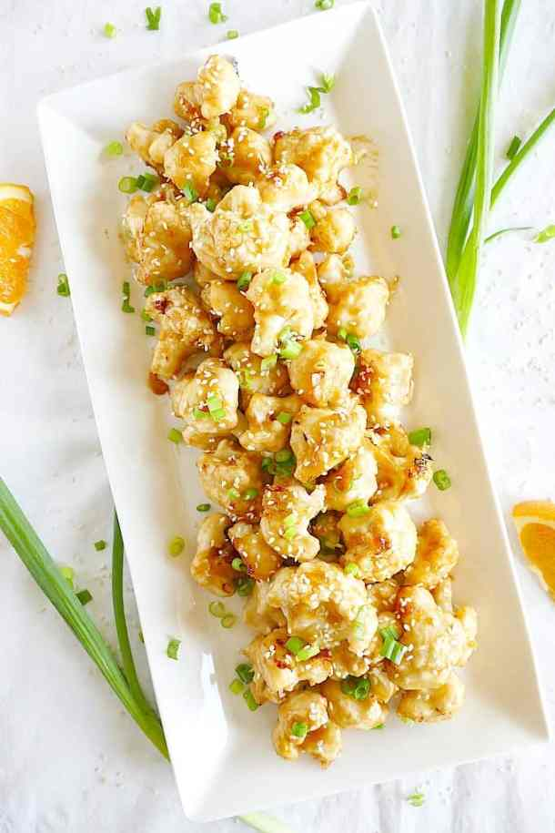 Vegan and gluten-free asian baked orange sesame cauliflower