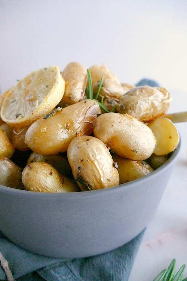 Lemon rosemary roasted fingerling potatoes. Vegan, gluten-free, paleo.