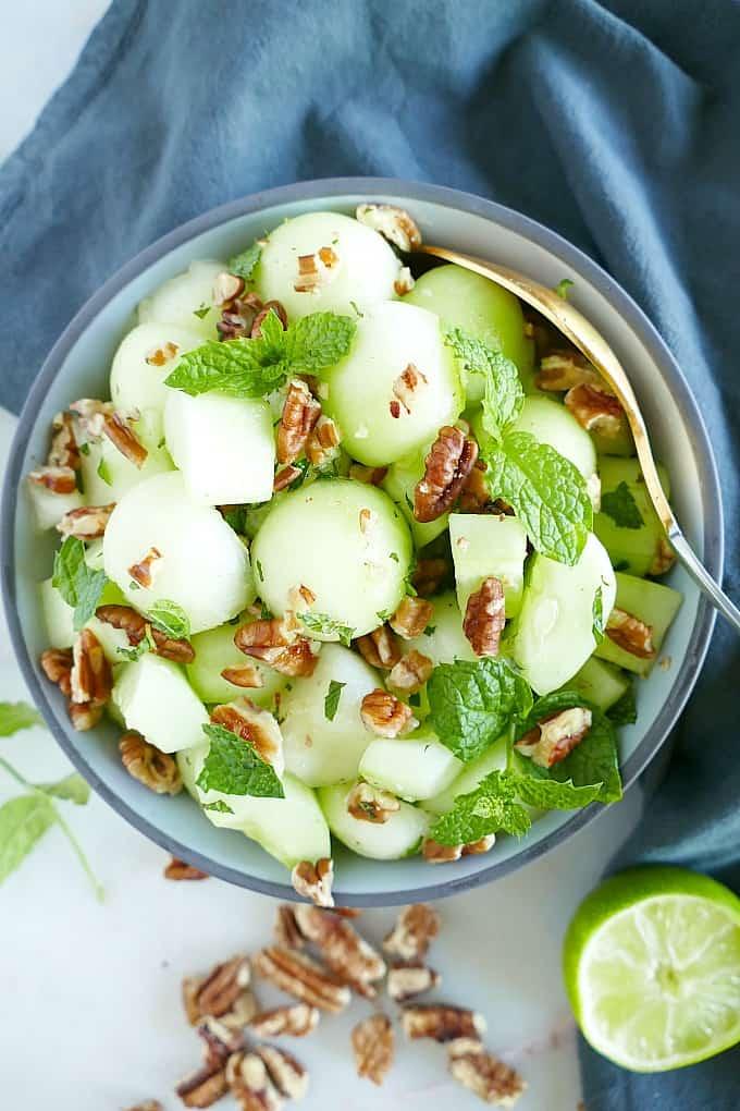 Honeydew melon, cucumber salad