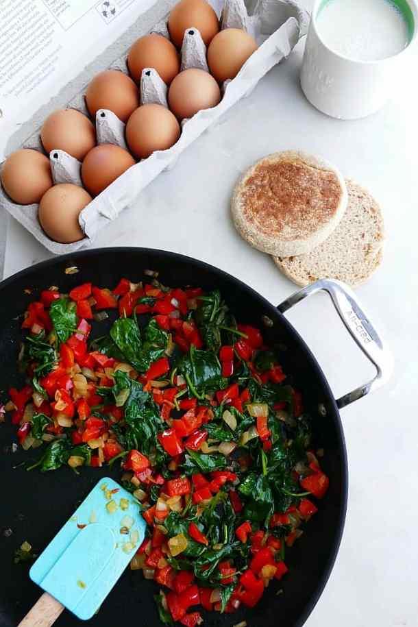 eggs, sauteed veggies, english muffin