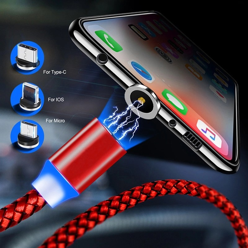 Round Magnetic Cable plug 8 Pin Type C Micro USB C Plugs Fast Charging Phone Magnet Charger Plug For iPhone 1m chargering Cord