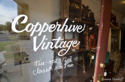 The door of Copperhive Vintage in Salt Lake City