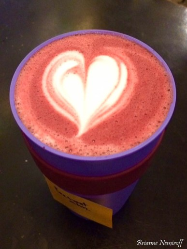 A beet root latte to-go in a KeepCup at Sugar House Coffee in Salt Lake City