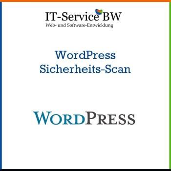 Bild zu dem Produkt, das den IT-Service BW-Service repräsentiert: WordPress Sicherheits Scan Service. Das Bild ist in den Farben des IT-Service BW Logos gehalten.