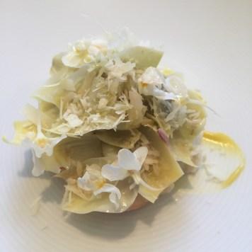 Fraser Island spanner crab, picked and shelled, celeriac butter, celeriac, fresh chestnut, winter leaves