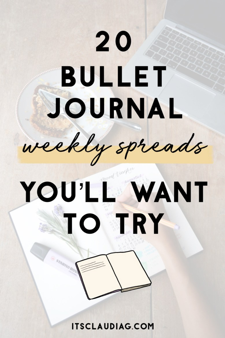 Bullet journal weekly spreads to try