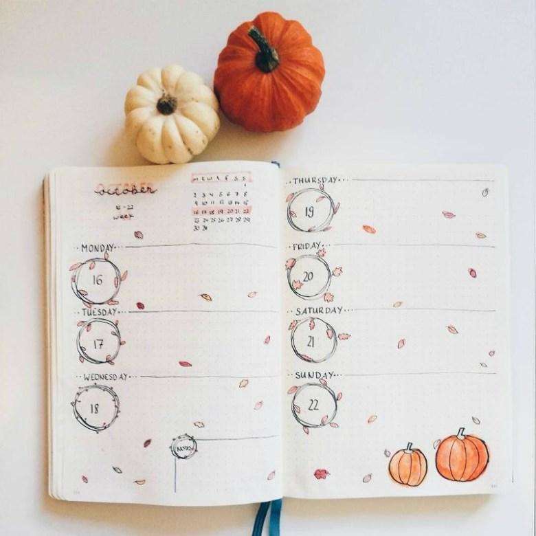 Fall-theme-bullet-journal-spread
