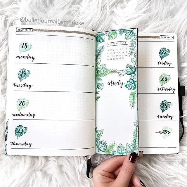 Tropical Nature Bullet Journal Weekly Spread