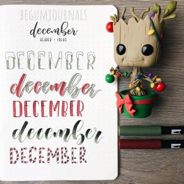 December Bullet Journal Header Ideas