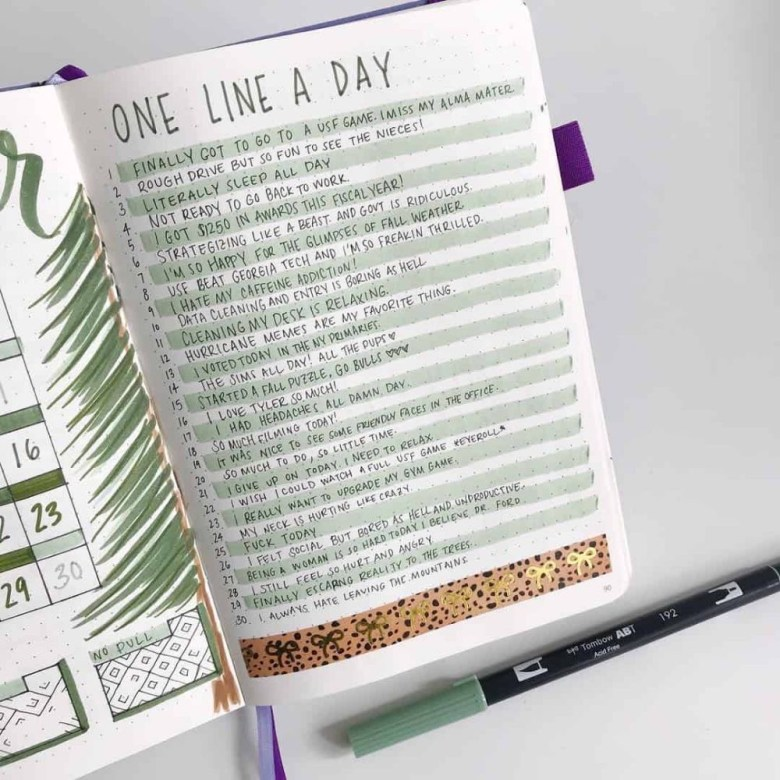 one line day bullet journal spread
