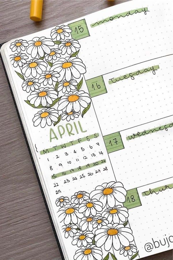 April bullet journal weekly spread