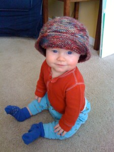 E in Em's hat, January 2010