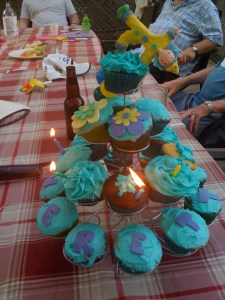 E's second birthday cupcake tree
