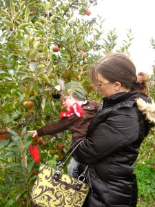 E and Mommy at the apple farm