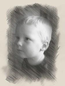 E's face, sketch-style