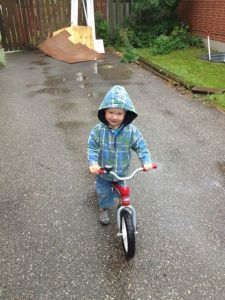 three-year-old on Radio Flyer balance bike