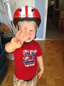 new helmet for the three-year-old