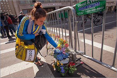 memorial at boston marathon bomb site