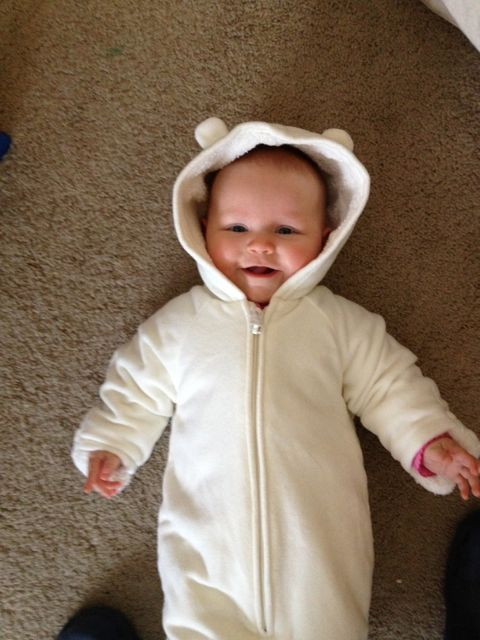 baby in snowsuit