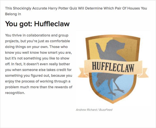huffleclaw hogwarts sorting test