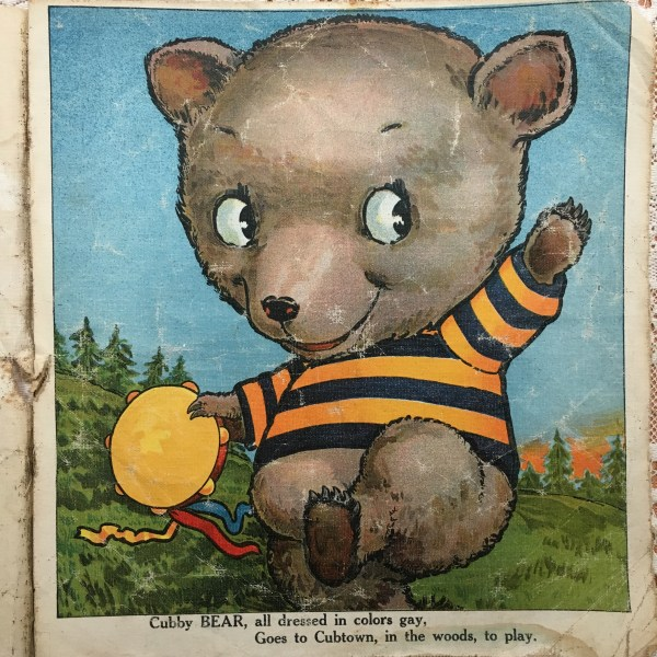 antique children's book cubby bear