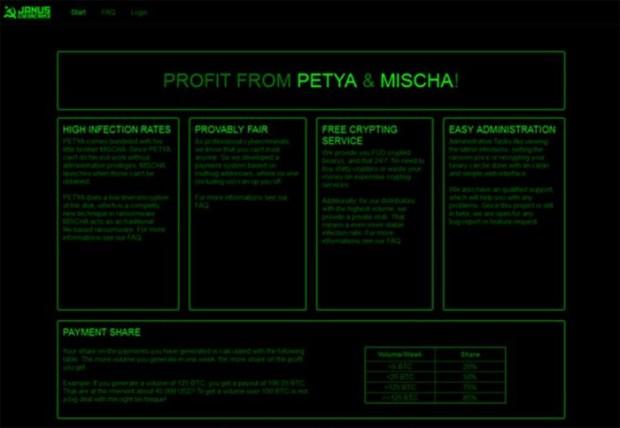 """Реклама """"пакета"""" вредоносов Mischa и Petya на одном из хакерских форумов"""