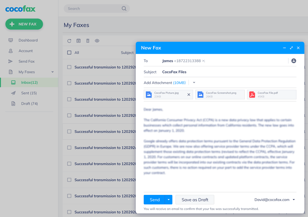send fax online with cocofax