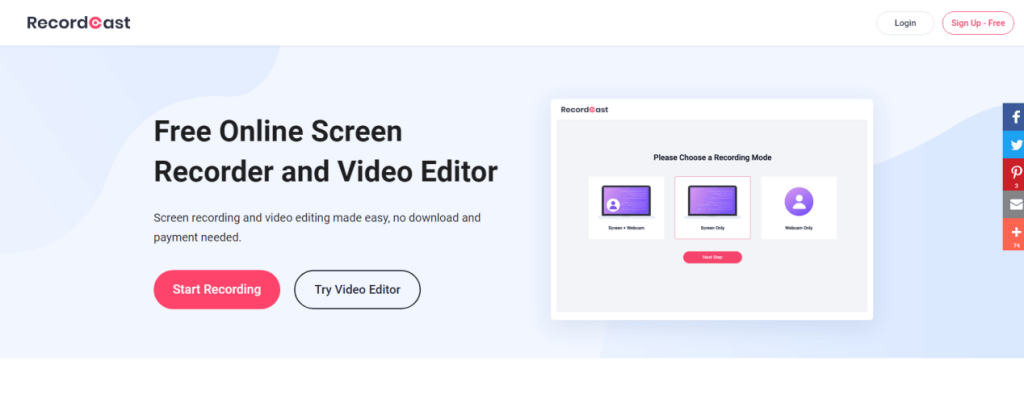 RecordCast Online Screen Recorder