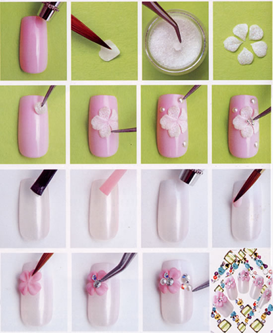 3DacrylicFlower nail art