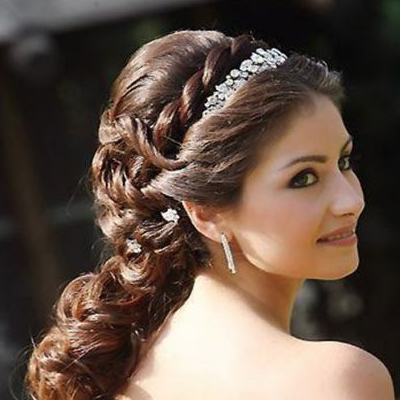 wedding hairstyles for brides on gown