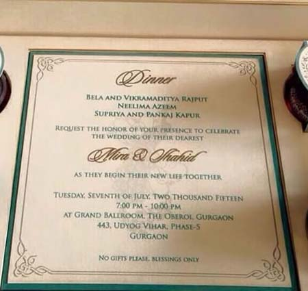 Shahid Kapoor wedding invitation card