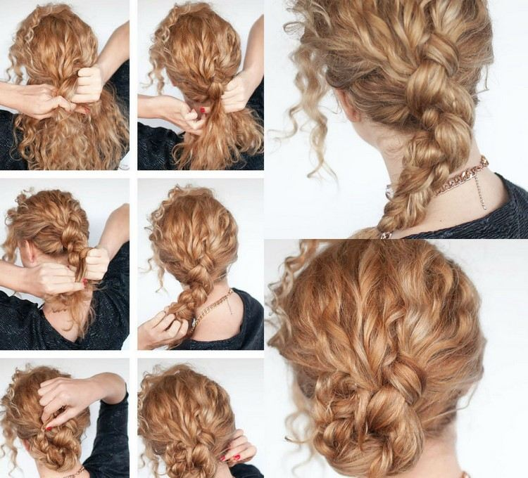 Bun hairstyle with curly long hair