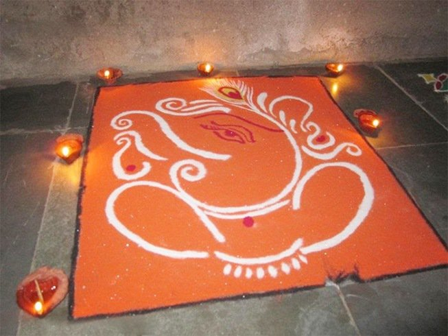 Ganesha rangoli design easy pictures