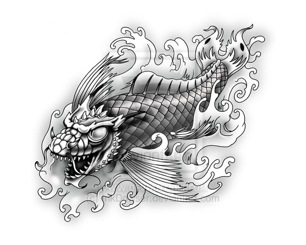 dragon koi fish tattoo for men