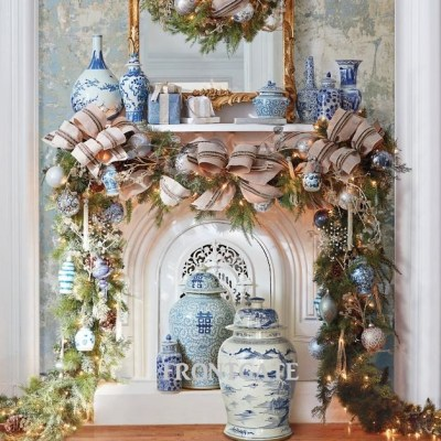 French Blue and Linen 60-pc. Ornament Collection on Fireplace Mantle