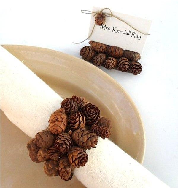 elegant pine cone floret napkin rings