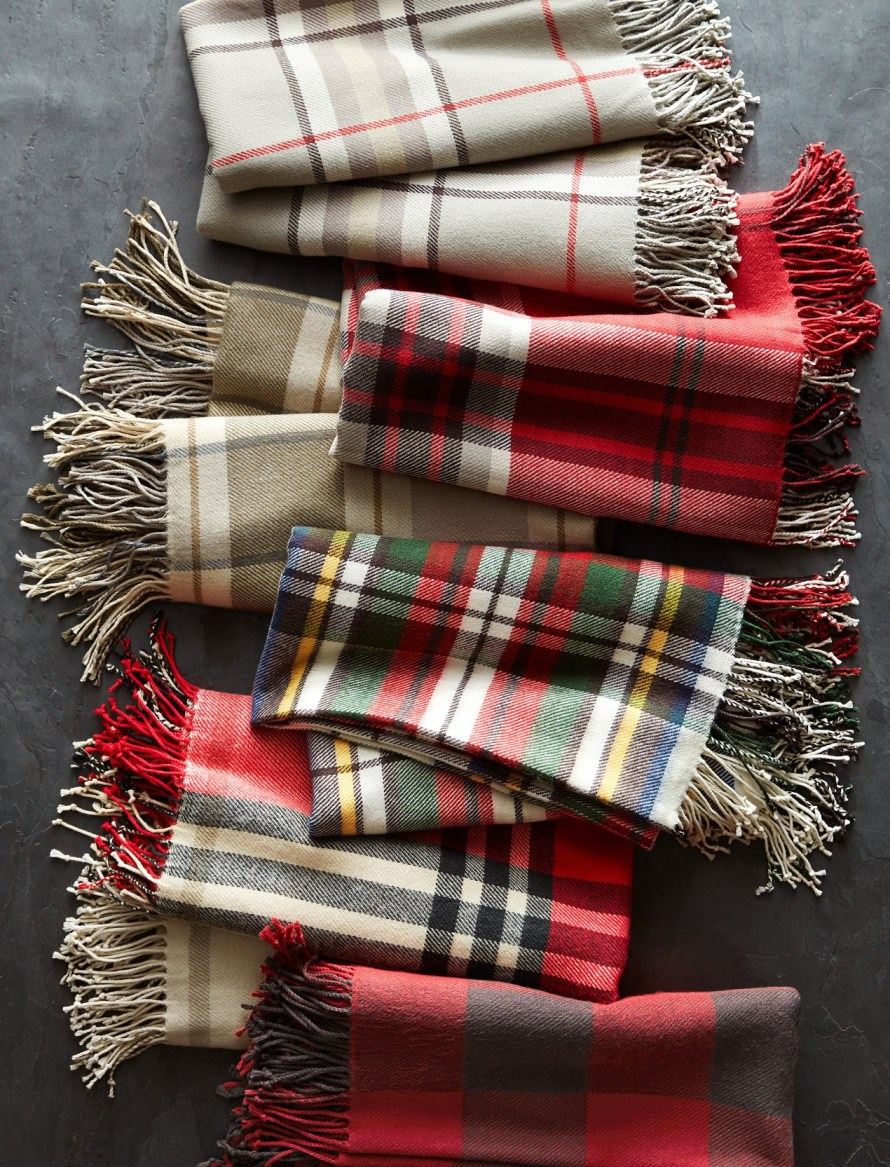 Assortment of plaid throws