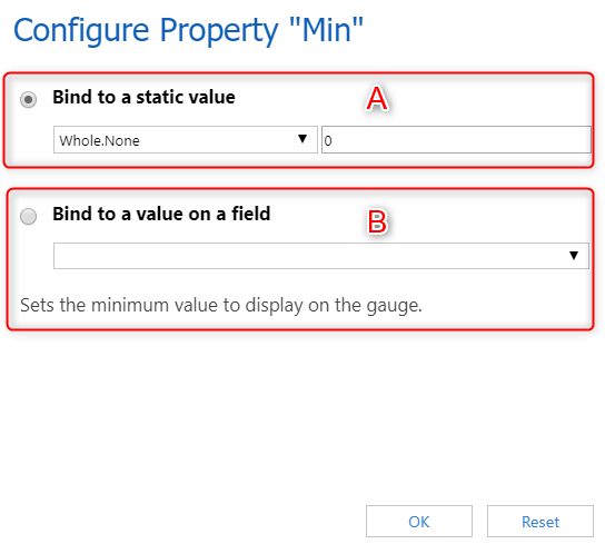 Binding min, max and step values to a static value or field.