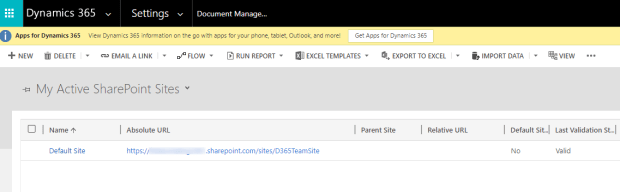 Active SharePoint Sites for Dynamics 365 Organization