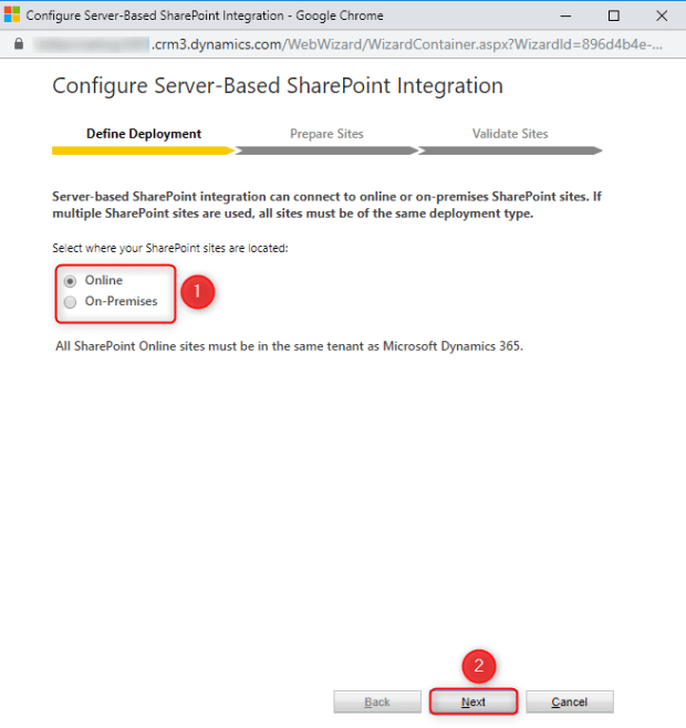 Choose location of SharePoint site