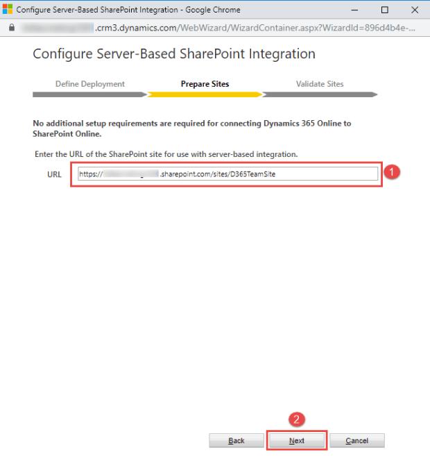Enter SharePoint Site URL
