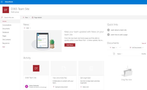 New SharePoint team site