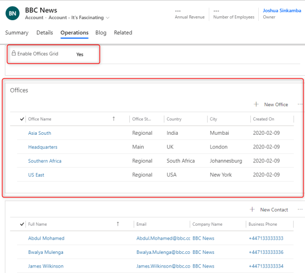 Account record enabled for Offices sub-grid